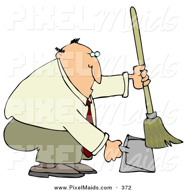 Clipart of a Fat and Balding Businessman in a Tan Suit, Crouching and Using a Broom to Sweep up Dirt in a Dustpan
