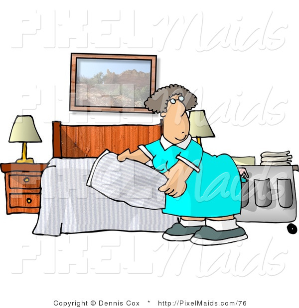 Clipart of a Female Housekeeper Making a Hotel Bed