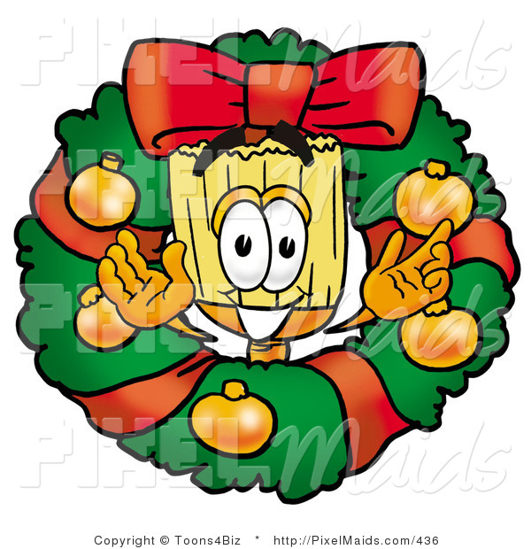 Clipart of a Festive Broom Mascot Cartoon Character in the Center of a Christmas Wreath