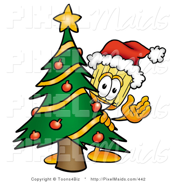 Clipart of a Festive Broom Mascot Cartoon Character Waving and Standing by a Decorated Christmas Tree