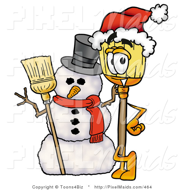 Clipart of a Festive Broom Mascot Cartoon Character with a Snowman on Christmas