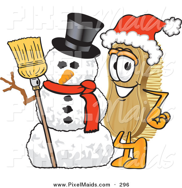 Clipart of a Festive Scrub Brush Mascot Cartoon Character Wearing a Santa Hat and Standing with a Snowman