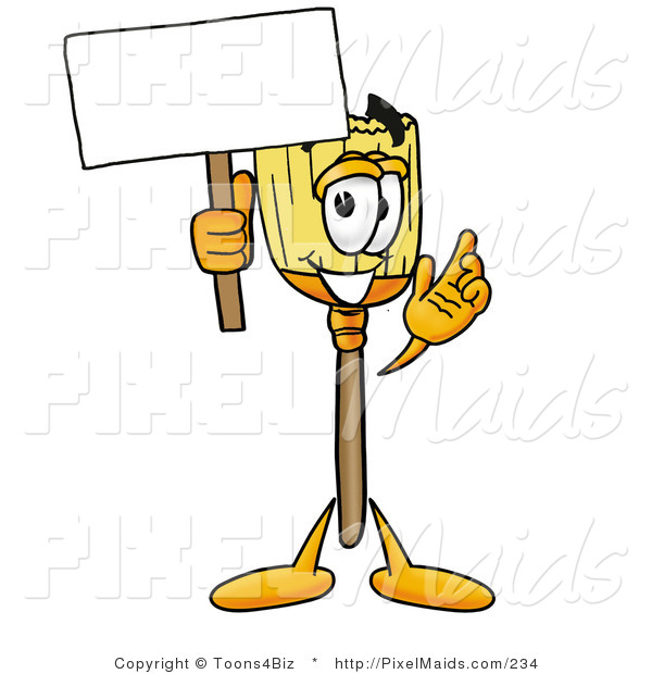 Clipart of a Friendly Broom Mascot Cartoon Character Holding a Blank Sign