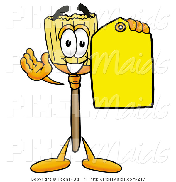 Clipart of a Friendly Broom Mascot Cartoon Character Holding a Yellow Sales Price Tag