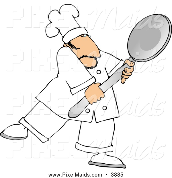 Clipart of a Friendly Caucasian Male Chef Carrying a Big Spoon