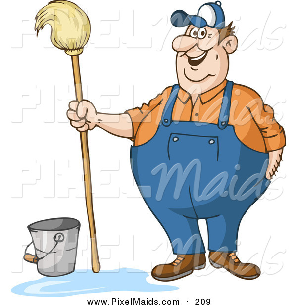 Clipart of a Friendly Chubby Male Custodian Standing by a Bucket and Holding a Mop
