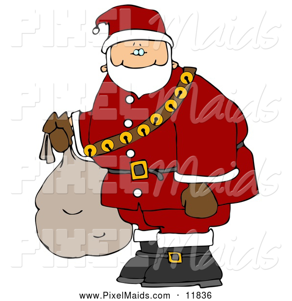 Clipart of a Friendly Santa Carrying Bag of Toys