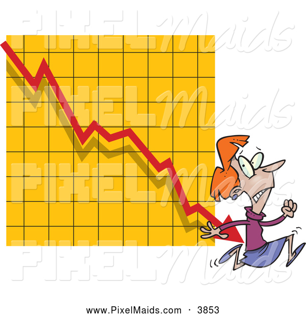 Clipart of a Frightened Woman Running from a Bar on a Declining Graph