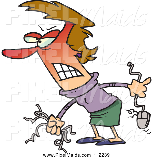 Clipart of a Frustrated Angry Woman Holding Computer Wires and a Mouse