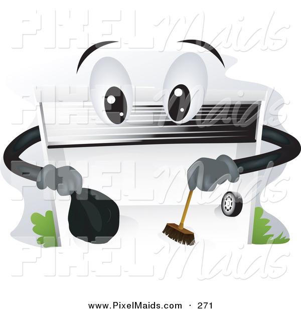 Garage Door Clip Art : Clipart of a garage door character cleaning the ground by