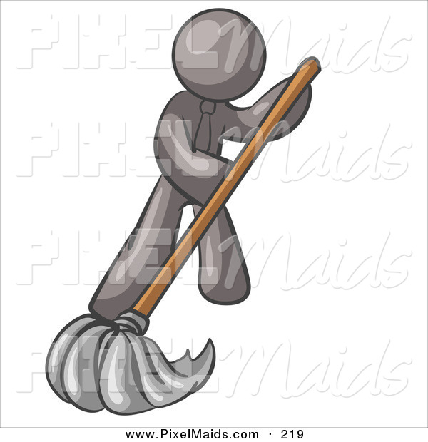 Clipart of a Gray Businessman Wearing a Tie, Using a Mop While Mopping a Hard Floor to Clean up a Mess or Spill