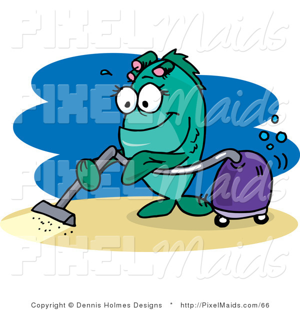 Clipart of a Green Female Fish Vacuuming the Ocean Floor