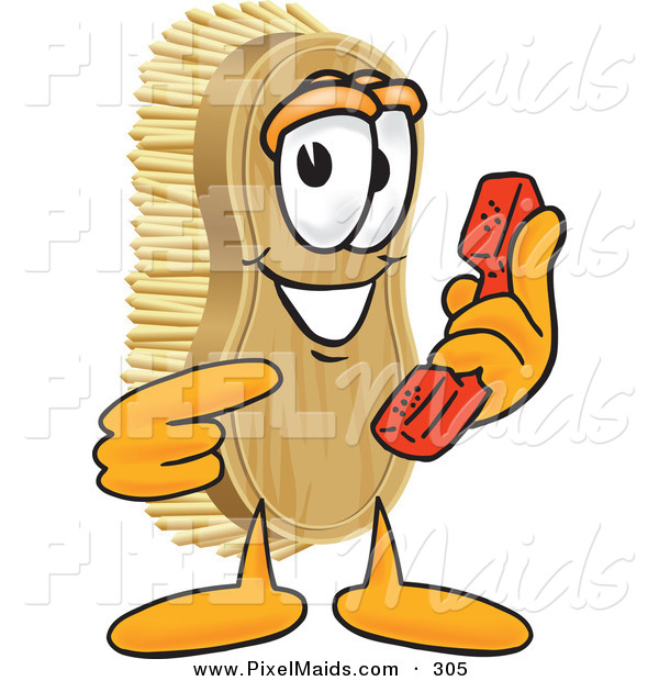 Clipart of a Grinning Scrub Brush Mascot Cartoon Character Holding and Pointing to a Red Phone
