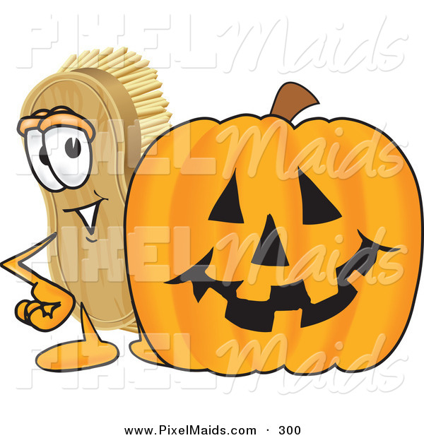Clipart of a Grinning Scrub Brush Mascot Cartoon Character Standing by a Carved Halloween Pumpkin