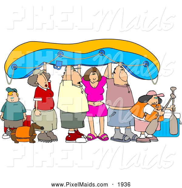 Clipart of a Group of Friends and Family Going River Rafting