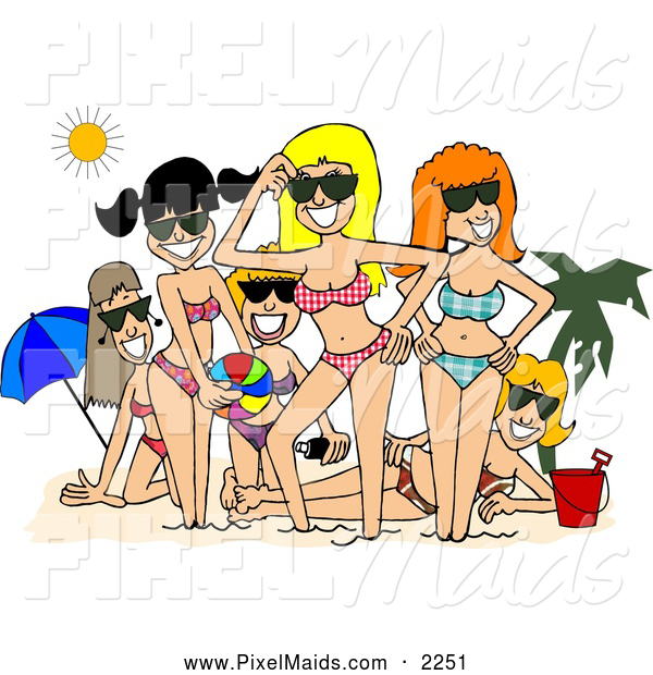 Clipart of a Group of Smiling Beach Girls Posing Together Under the Sun