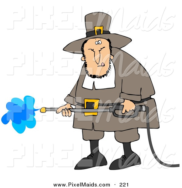 Clipart of a Grumpy Caucasian Male Pilgrim in Brown Clothes and a Hat, Operating a Pressure Washer