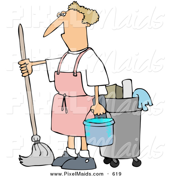 Clipart of a Grumpy Janitor Man Mopping in a Pink Apron
