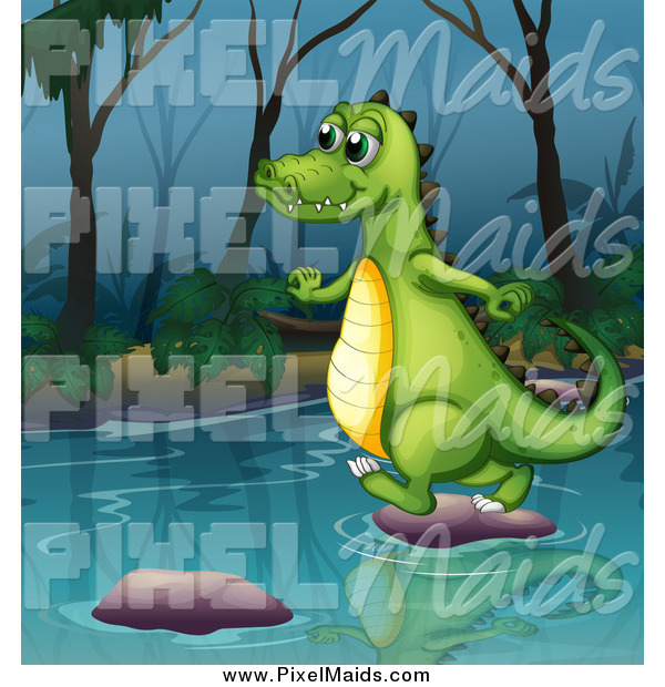 Clipart of a Happy Alligator Using Stepping Stones on a River