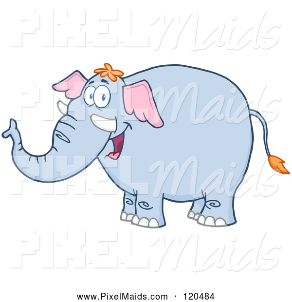 Clipart of a Happy Blue Elephant