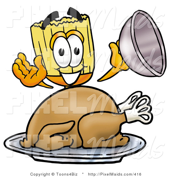 Clipart of a Happy Broom Mascot Cartoon Character Serving a Thanksgiving Turkey on a Platter