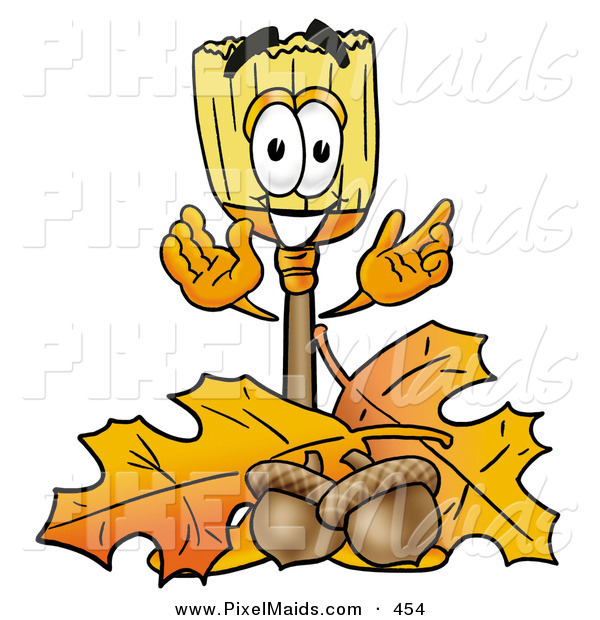 Clipart of a Happy Broom Mascot Cartoon Character with Autumn Leaves and Acorns in the FallHappy Broom Mascot Cartoon Character with Autumn Leaves and Acorns in the Fall