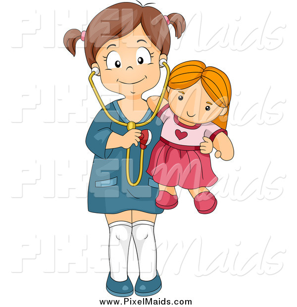 Clipart of a Happy Brunette Girl Holding a Stethoscope to Her Doll