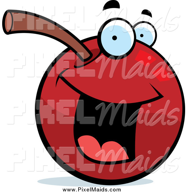 Clipart of a Happy Cherry Character