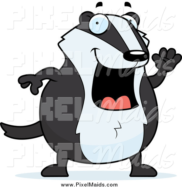 Clipart of a Happy Chubby Badger Waving