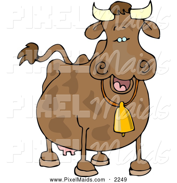Clipart of a Happy Cow Wearing a Bell