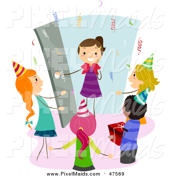 Clipart of a Happy Girl Arriving at a Surprise Birthday Party