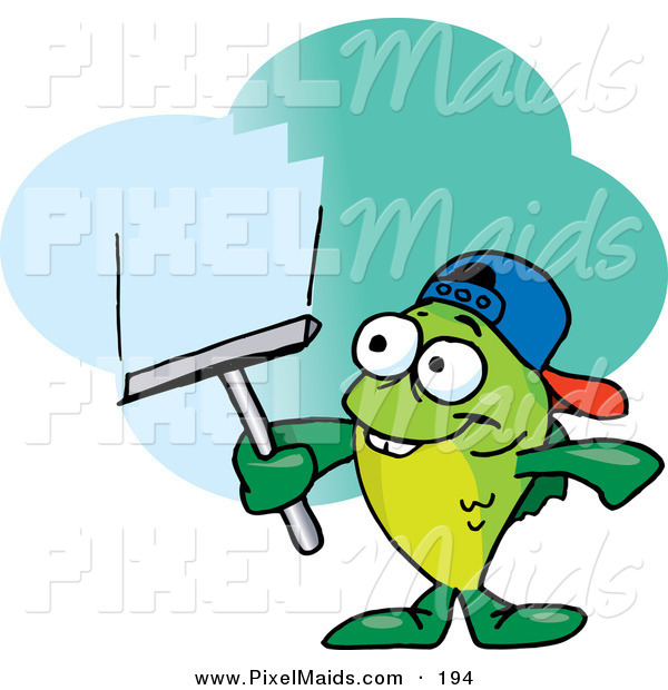 Clipart of a Happy Green Fish Window Cleaner Using a Squeegee