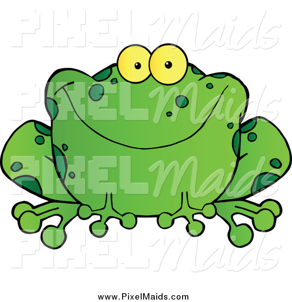 Clipart of a Happy Green Frog Smiling