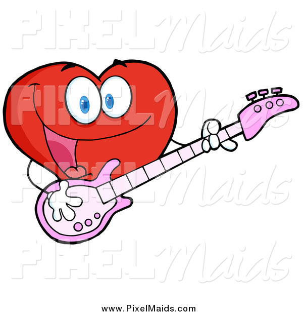 Clipart of a Happy Heart Character Guitarist Playing a Song