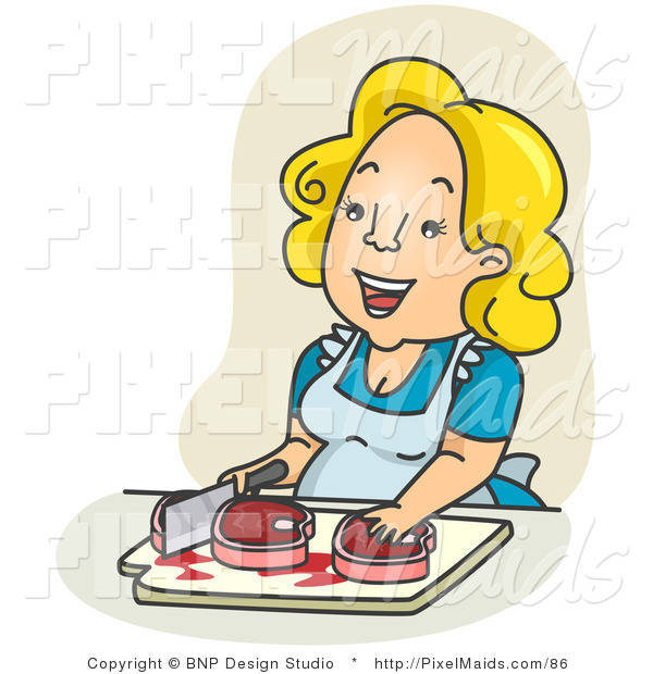 Clipart of a Happy Housewife Chopping Meat over Tan