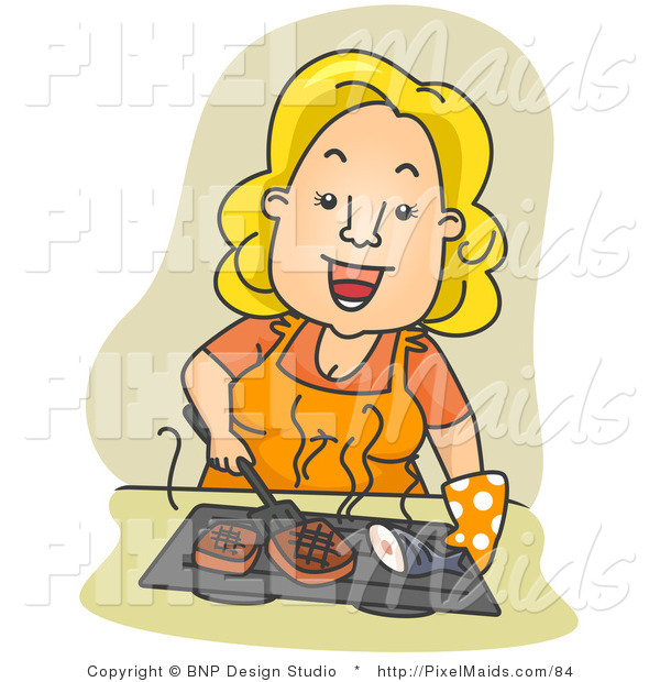 Clipart of a Happy Housewife Grilling Fish and Meat over Tan