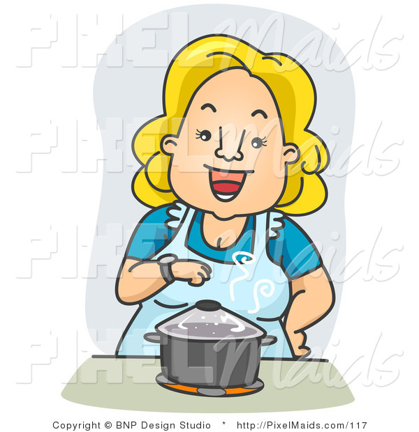 Clipart of a Happy Housewife Standing over a Pot on a Stove