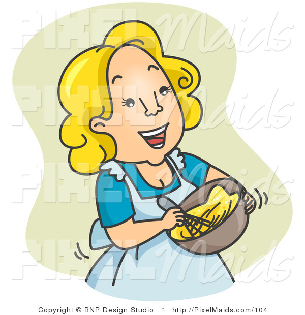 Clipart of a Happy Housewife Woman Beating Eggs over Green
