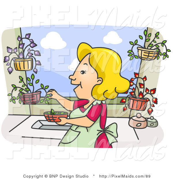 Clipart of a Happy Housewife Woman Picking Herbs from Her Garden