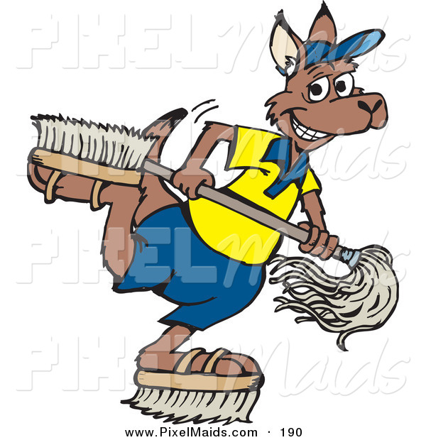 Clipart of a Happy Kangaroo Janitor Playing with Brush Shoes and a Mop
