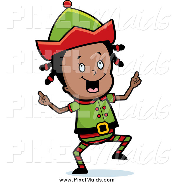 Clipart of a Happy Little Black Girl Elf Dancing