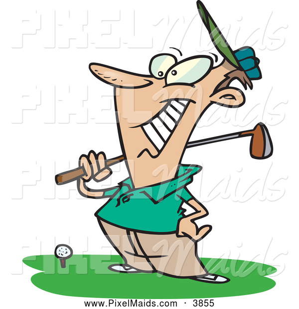 Clipart of a Happy Male Golfer near a Ball, Holding His Golf Club, on White