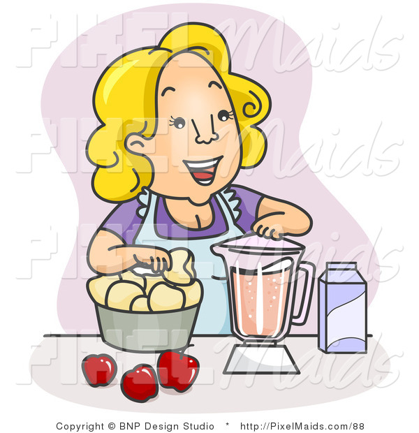 Clipart of a Happy Mother Blending Juice in the Kitchen