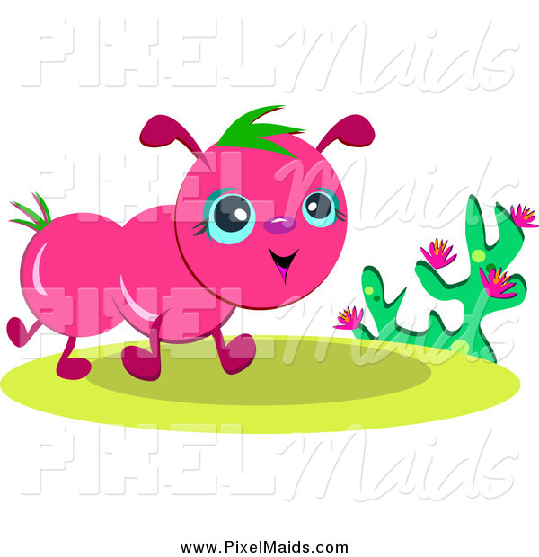 Clipart of a Happy Pink Bug Walking by a Plant