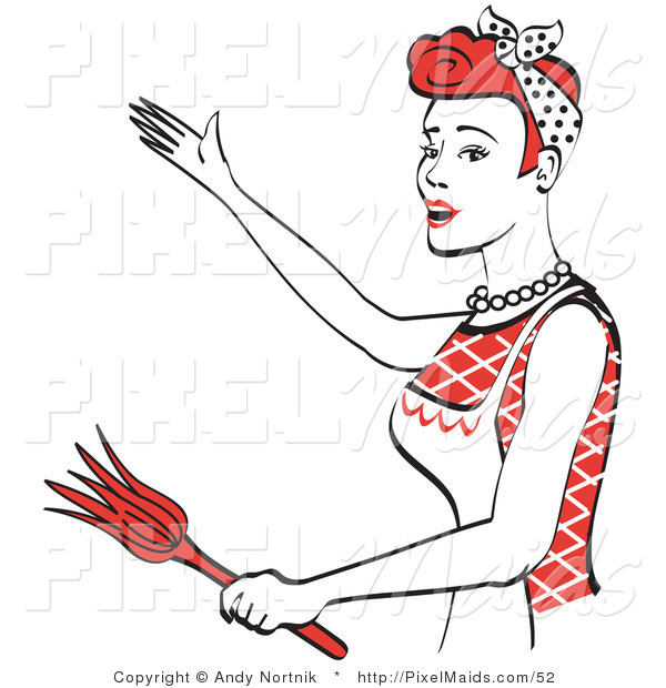 Clipart of a Happy Red Haired Housewife or Maid Woman Wearing an Apron While Gesturing or Dancing and Using a Feather Duster