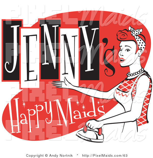 Clipart of a Happy Redhaired Woman in an Apron, Using a Steam Iron on Clothes on a Vintage Jenny's Happy Maids Advertisement