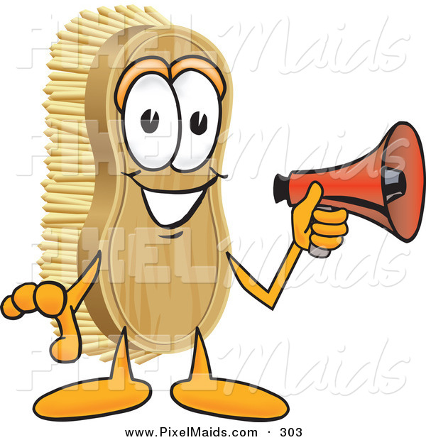 Clipart of a Happy Scrub Brush Mascot Cartoon Character Holding a Red Megaphone Bullhorn