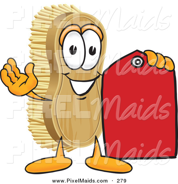 Clipart of a Happy Scrub Brush Mascot Cartoon Character Holding a Red Sales Price Tag