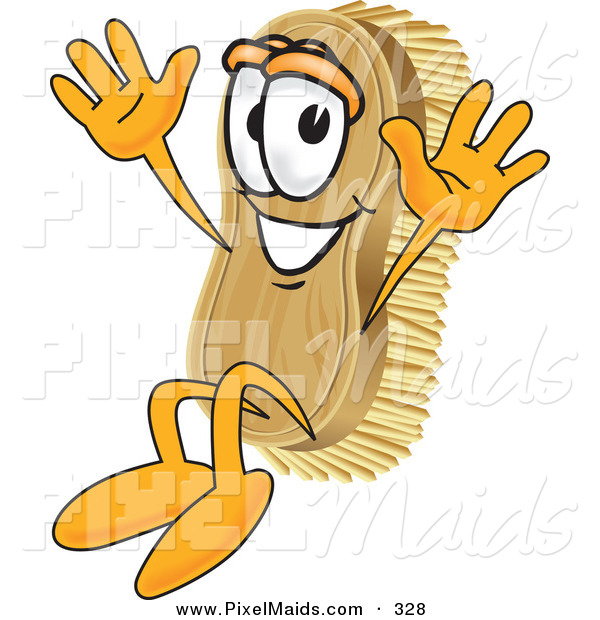 Clipart of a Happy Scrub Brush Mascot Cartoon Character Jumping