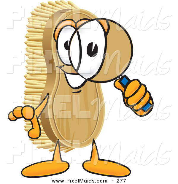Clipart of a Happy Scrub Brush Mascot Cartoon Character Looking Through a Magnifying Glass